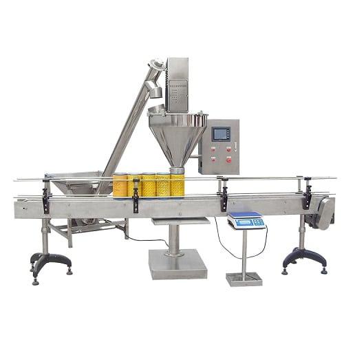ماكينة تعبئة البودرة في عبوات بلاستيكية و زجاجية ومعدنية